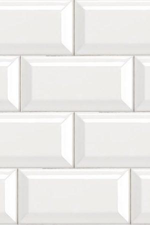 Cafe White Gloss Bevelled 200×100